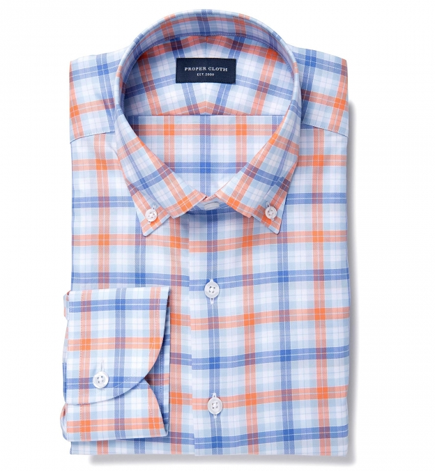 Lisbon orange multi check custom dress shirt by proper cloth for Proper cloth custom shirt price