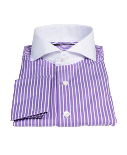 Canclini purple reverse bengal stripe shirts by proper cloth for Purple striped dress shirt