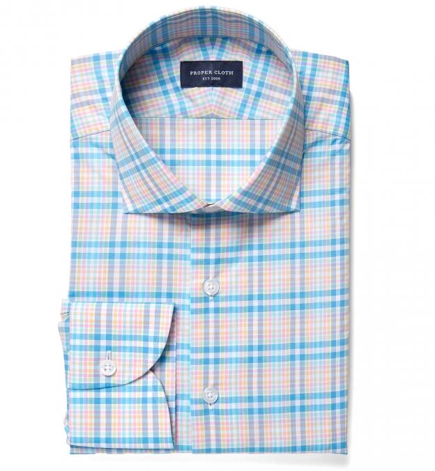 Thomas mason blue and yellow plaid men 39 s dress shirt by for Blue and yellow dress shirt