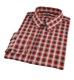 Mandarin Orange Plaid Men's Dress Shirt