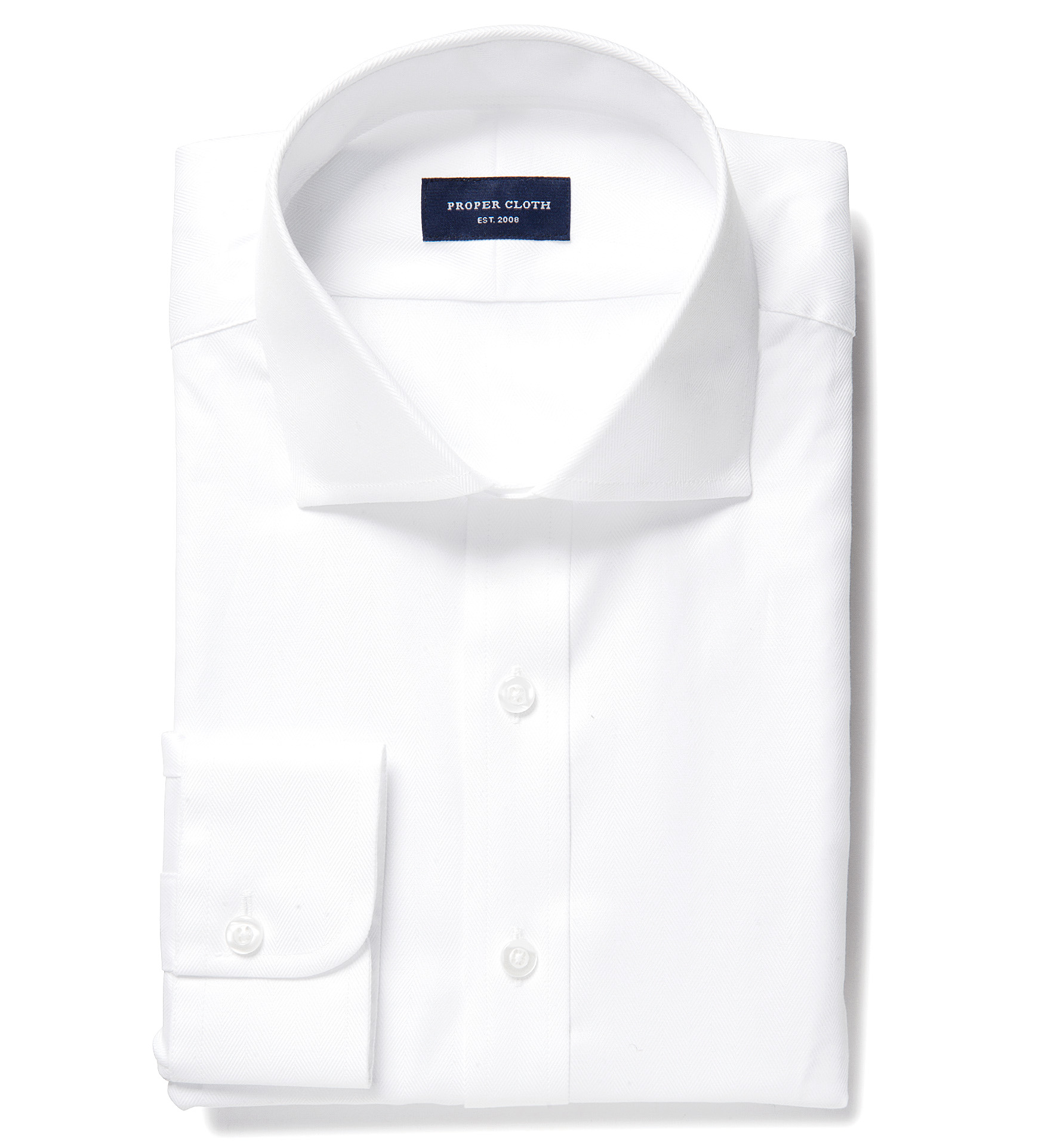 120s white royal herringbone fitted dress shirt by proper for White herringbone dress shirt