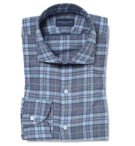 Satoyama Light Blue And Slate Plaid Flannel Custom Made