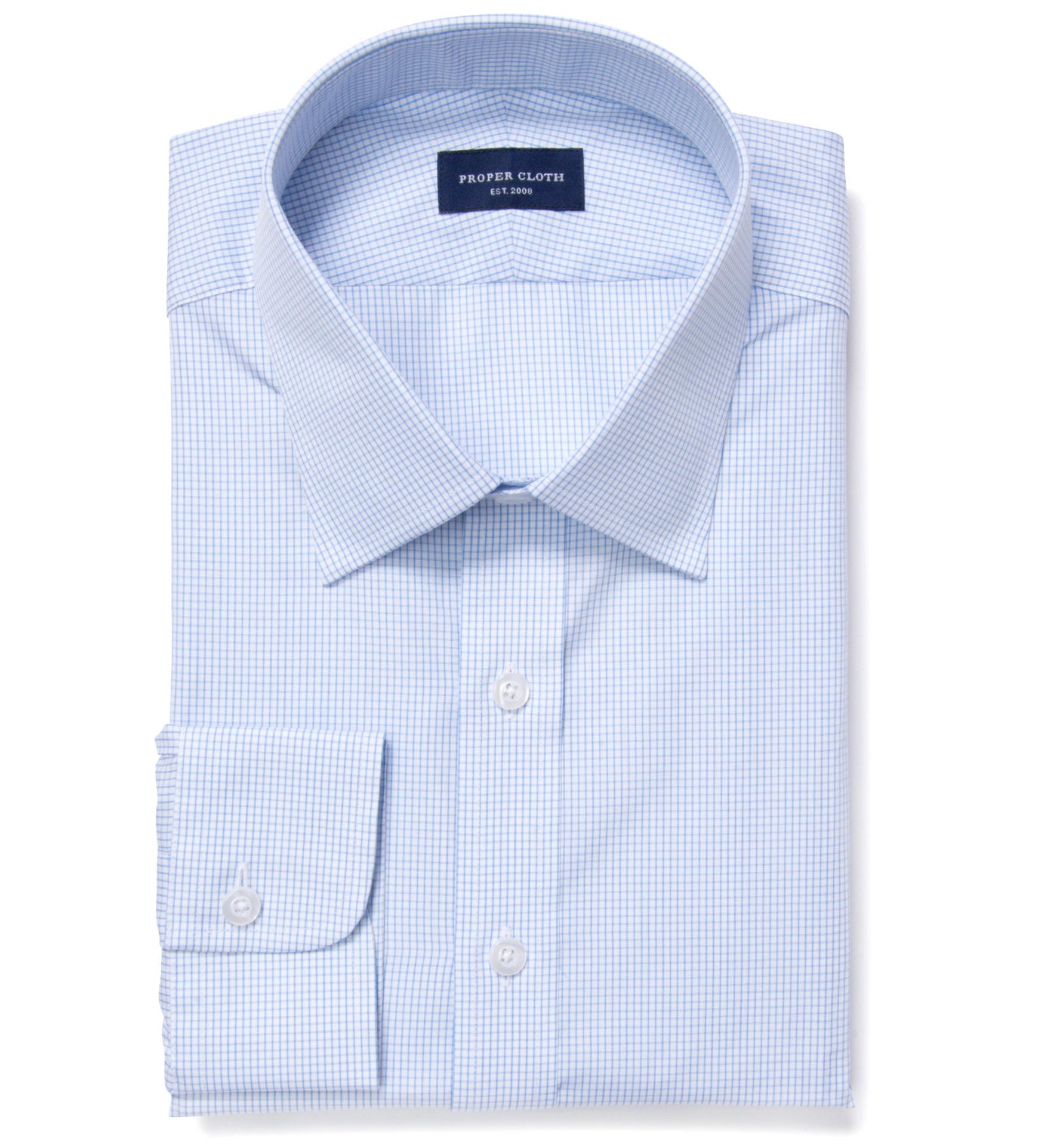 Thomas Mason Light Blue Small Grid Fitted Shirt By Proper