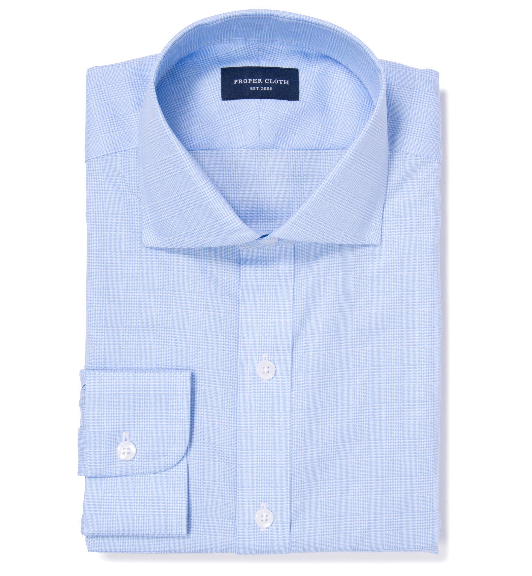 Morris wrinkle resistant light blue glen plaid fitted for Non wrinkle dress shirts