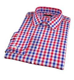 Red and Blue Large Gingham Fitted Shirt