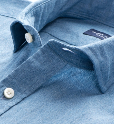 Japanese washed chambray men 39 s dress shirt by proper cloth for Proper cloth custom shirt price