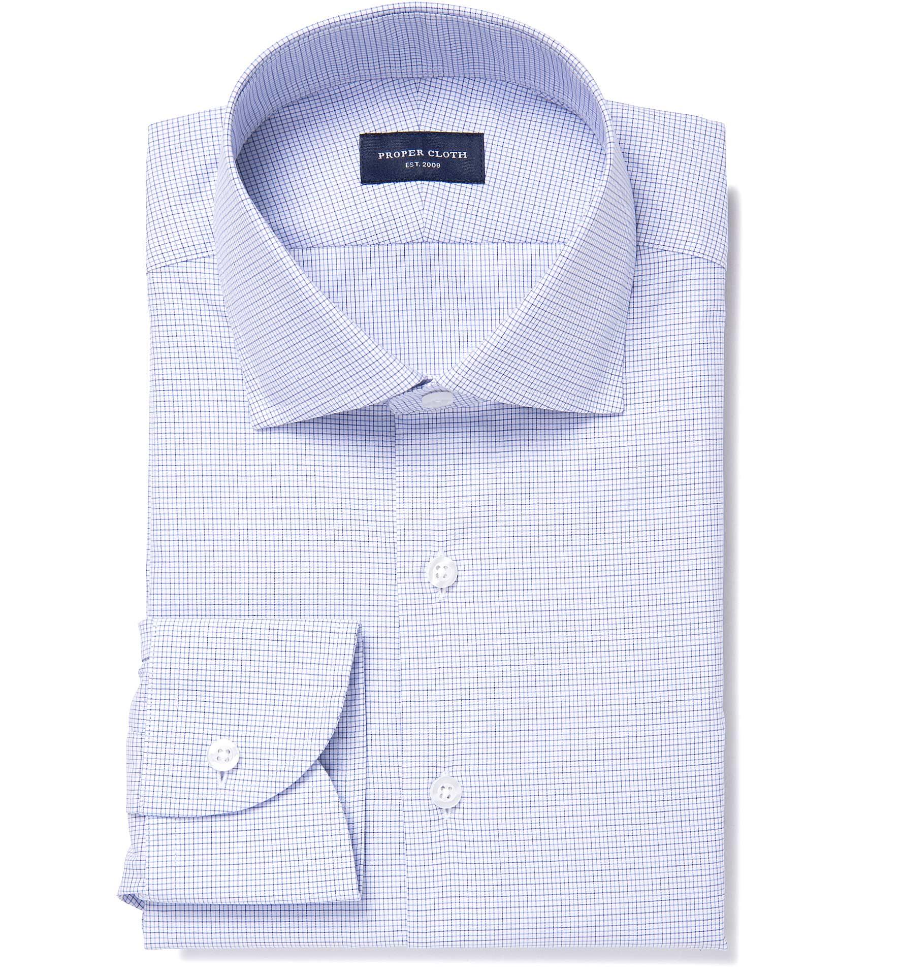 Thomas Mason Goldline Wr Blue Tattersall Custom Made Shirt