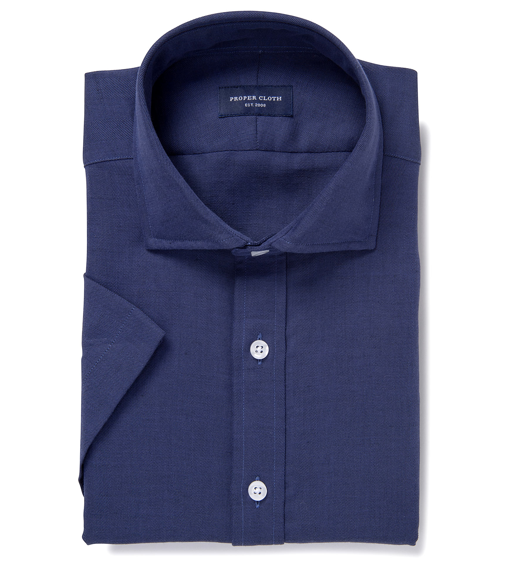 Portuguese vintage navy cotton linen herringbone tailor for Proper cloth custom shirt price
