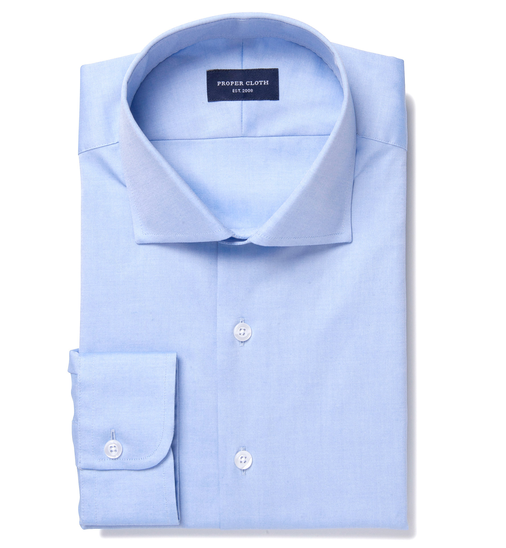 Bowery blue wrinkle resistant pinpoint custom dress shirt for Wrinkle resistant dress shirts