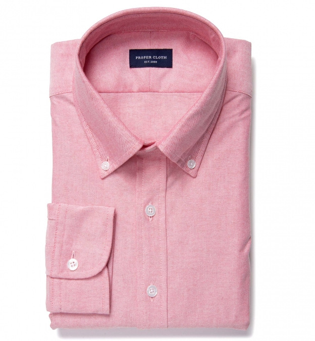 Red heavy oxford dress shirt by proper cloth for Heavy button down shirts
