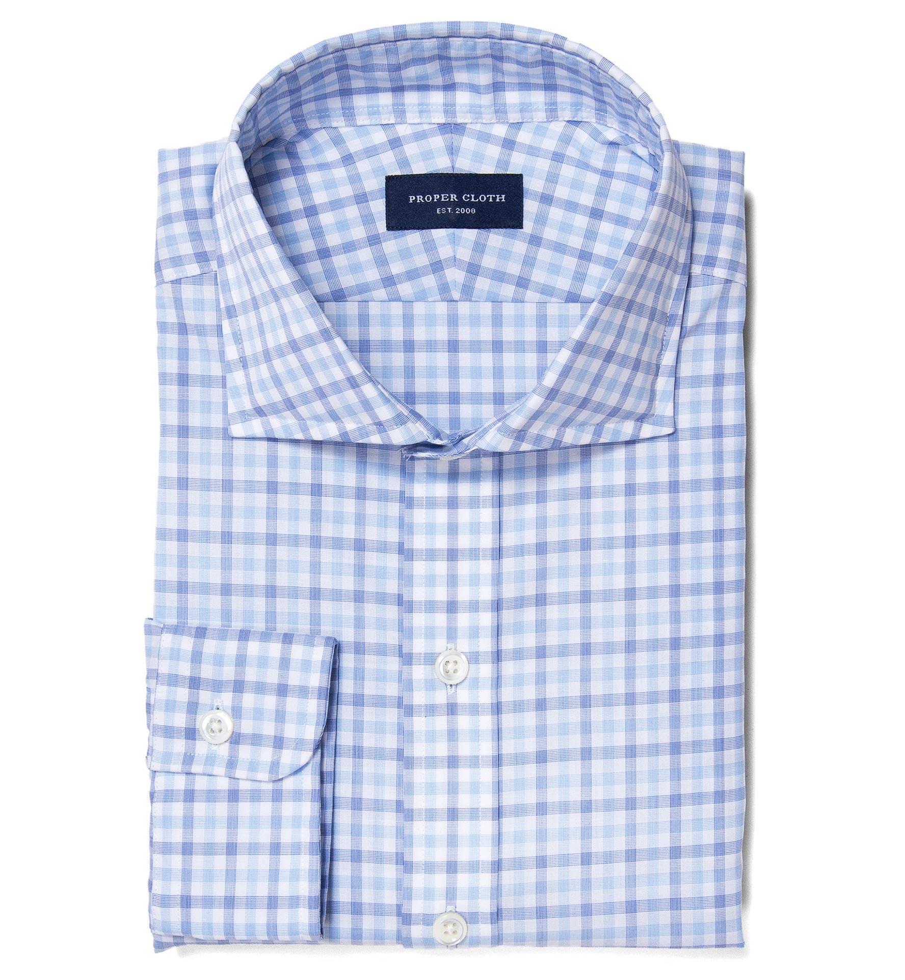 Thomas Mason Blue End On End Check Custom Made Shirt By