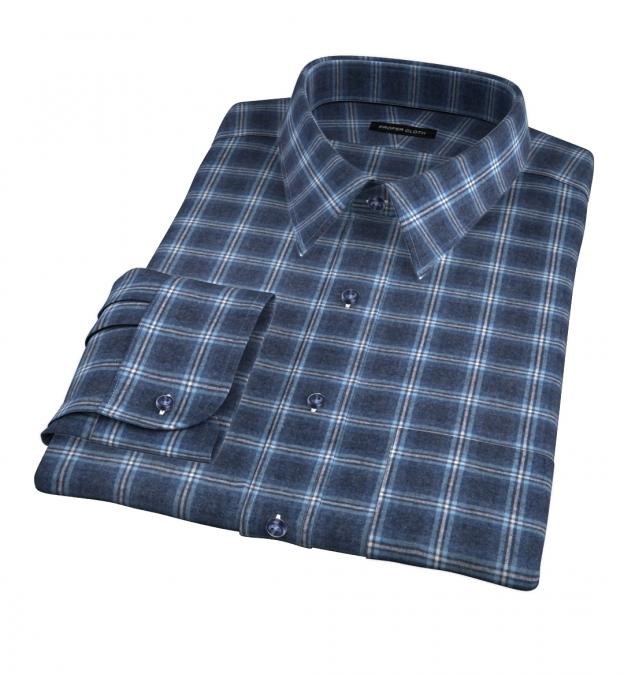 Whistler Slate And Light Blue Windowpane Flannel Custom