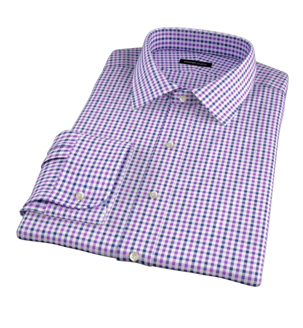 Purple And Navy Gingham Dress Shirt By Proper Cloth