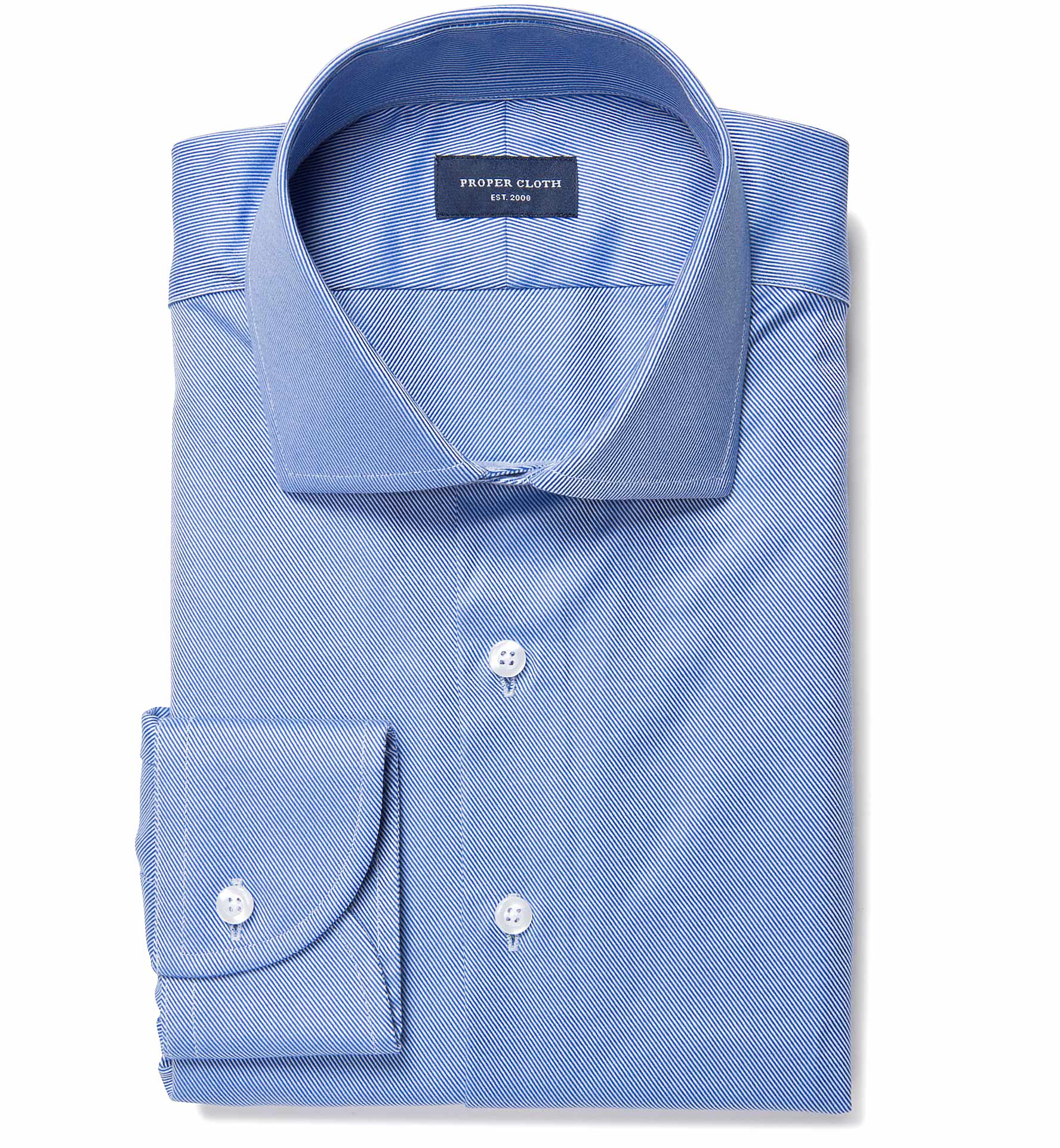Blue wrinkle resistant cavalry twill fitted dress shirt by Best wrinkle free dress shirts