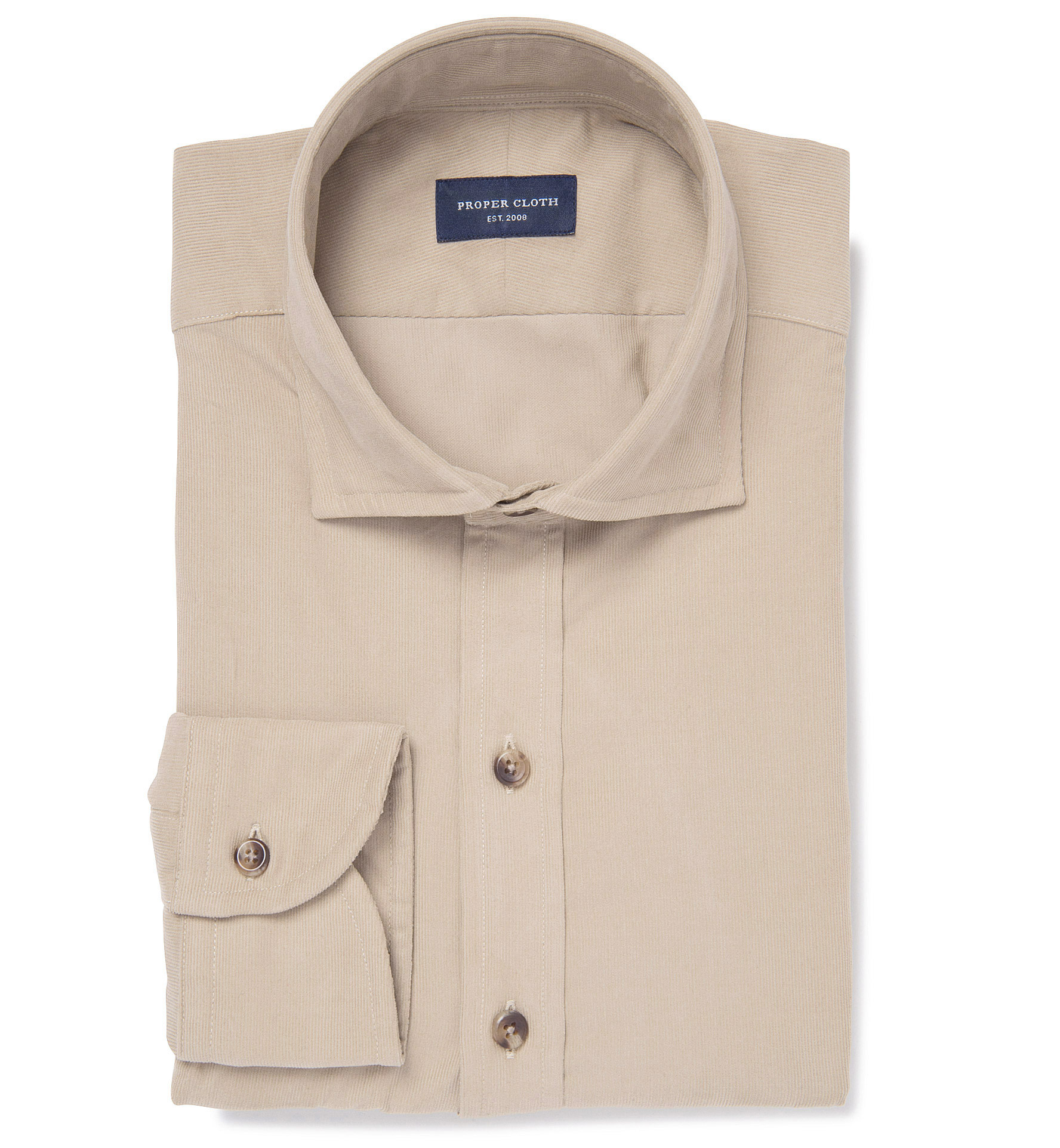 Albini tan fine corduroy men 39 s dress shirt by proper cloth for Proper cloth custom shirt price