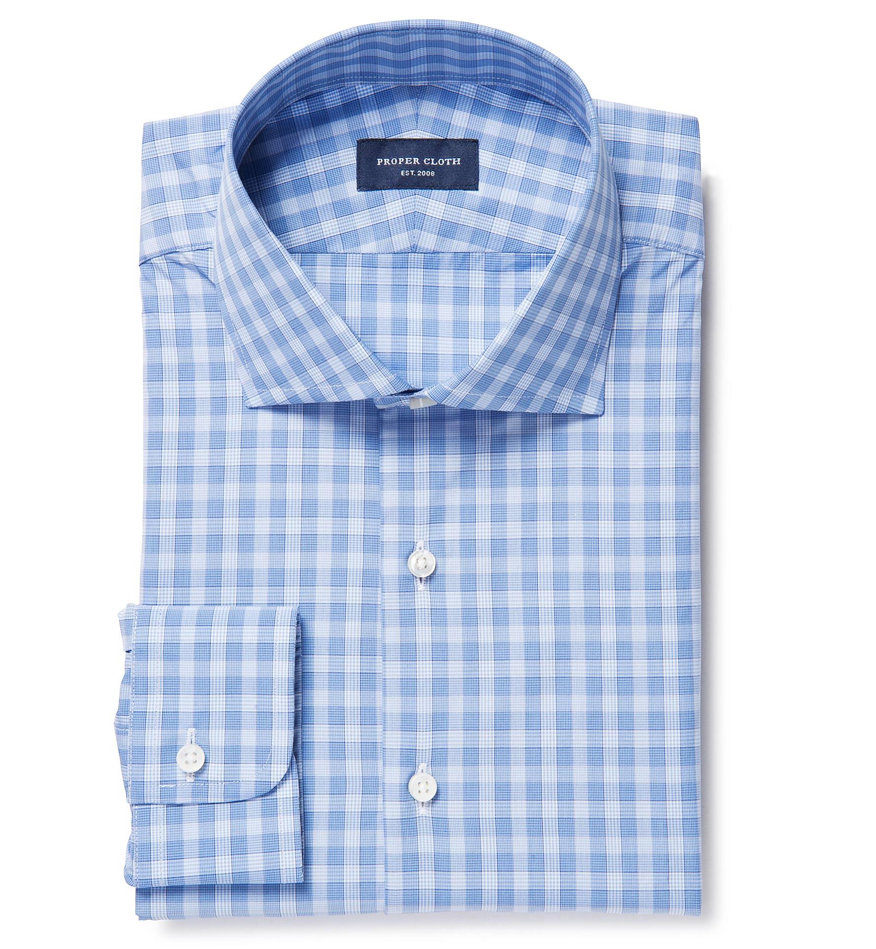 Thomas mason goldline slate blue large check custom dress for Thomas mason dress shirts