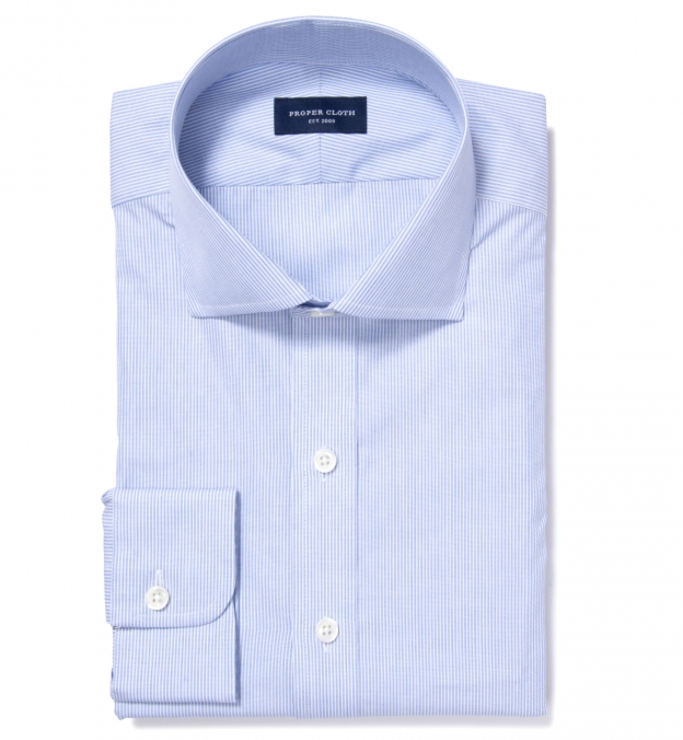 Thomas Mason Blue End On End Stripe Custom Made Shirt By