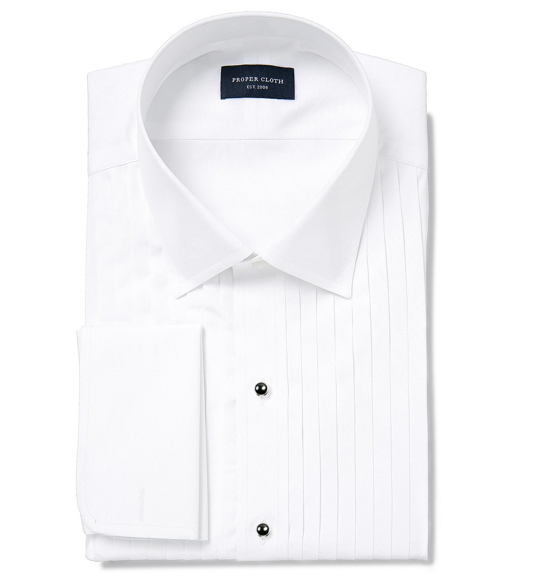 Thomas Mason White Luxury Broadcloth Custom Made Shirt By