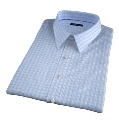 Carmine 120s Sky Blue Small Check Short Sleeve Shirt