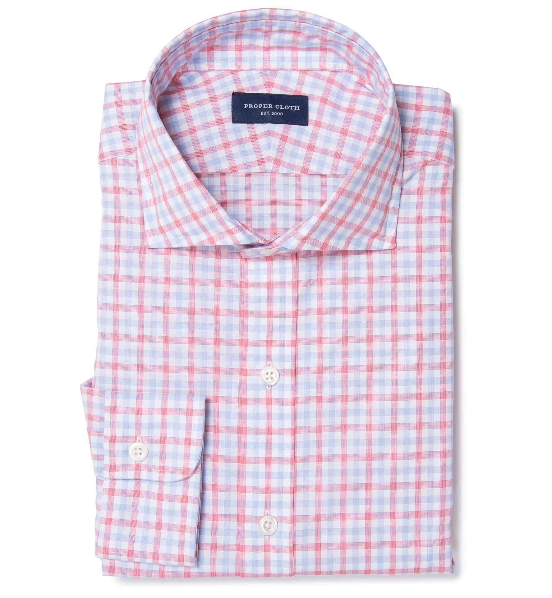Thomas mason red multi check dress shirt by proper cloth for Thomas mason dress shirts