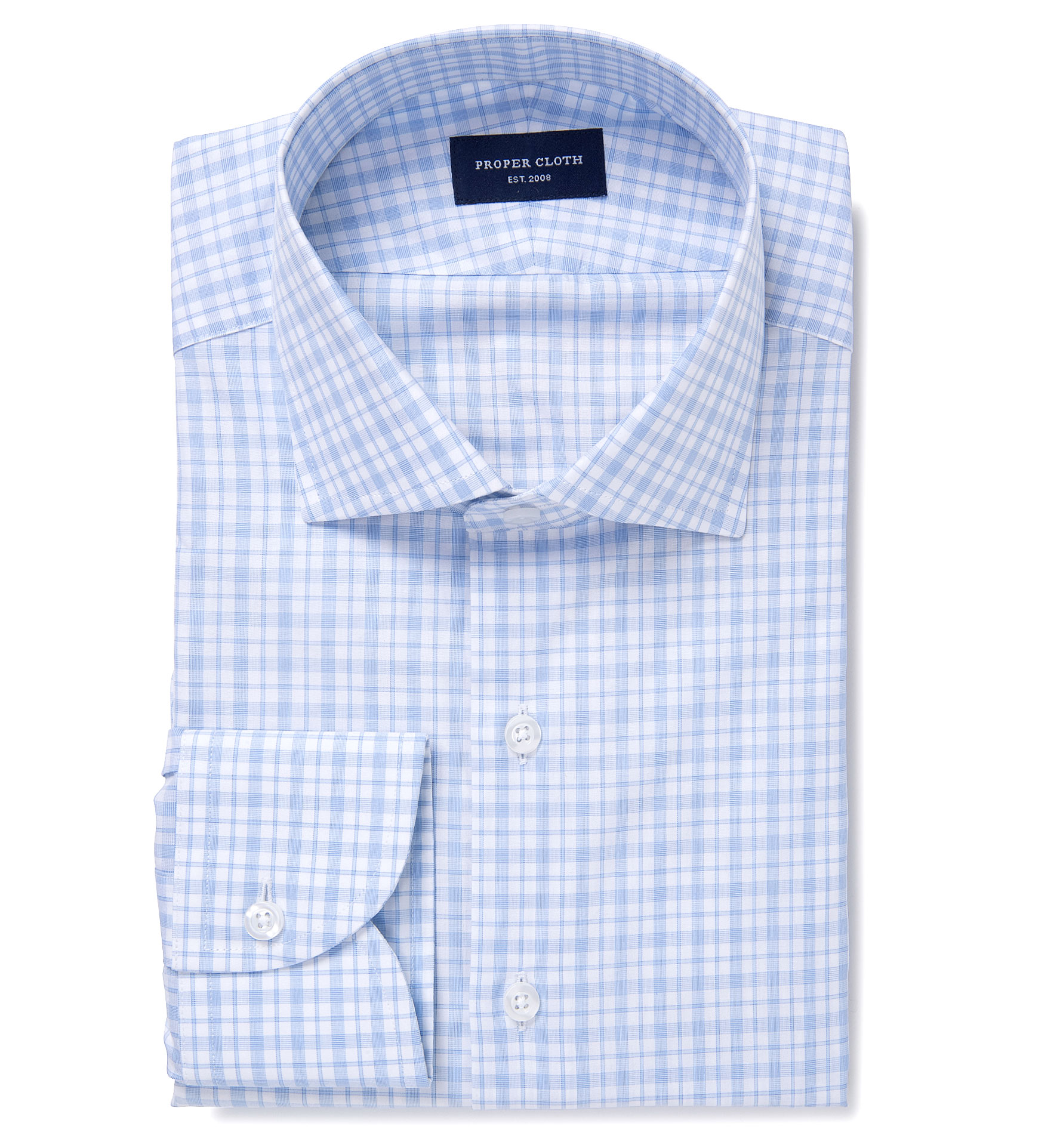 Novara light blue check custom dress shirt by proper cloth for Blue check dress shirt