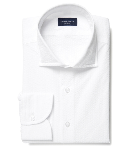 Portuguese White Seersucker Fitted Shirt by Proper Cloth