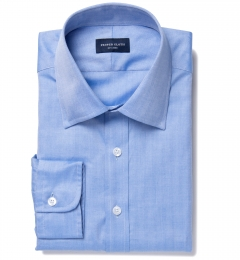 Canclini Blue Herringbone Fitted Shirt