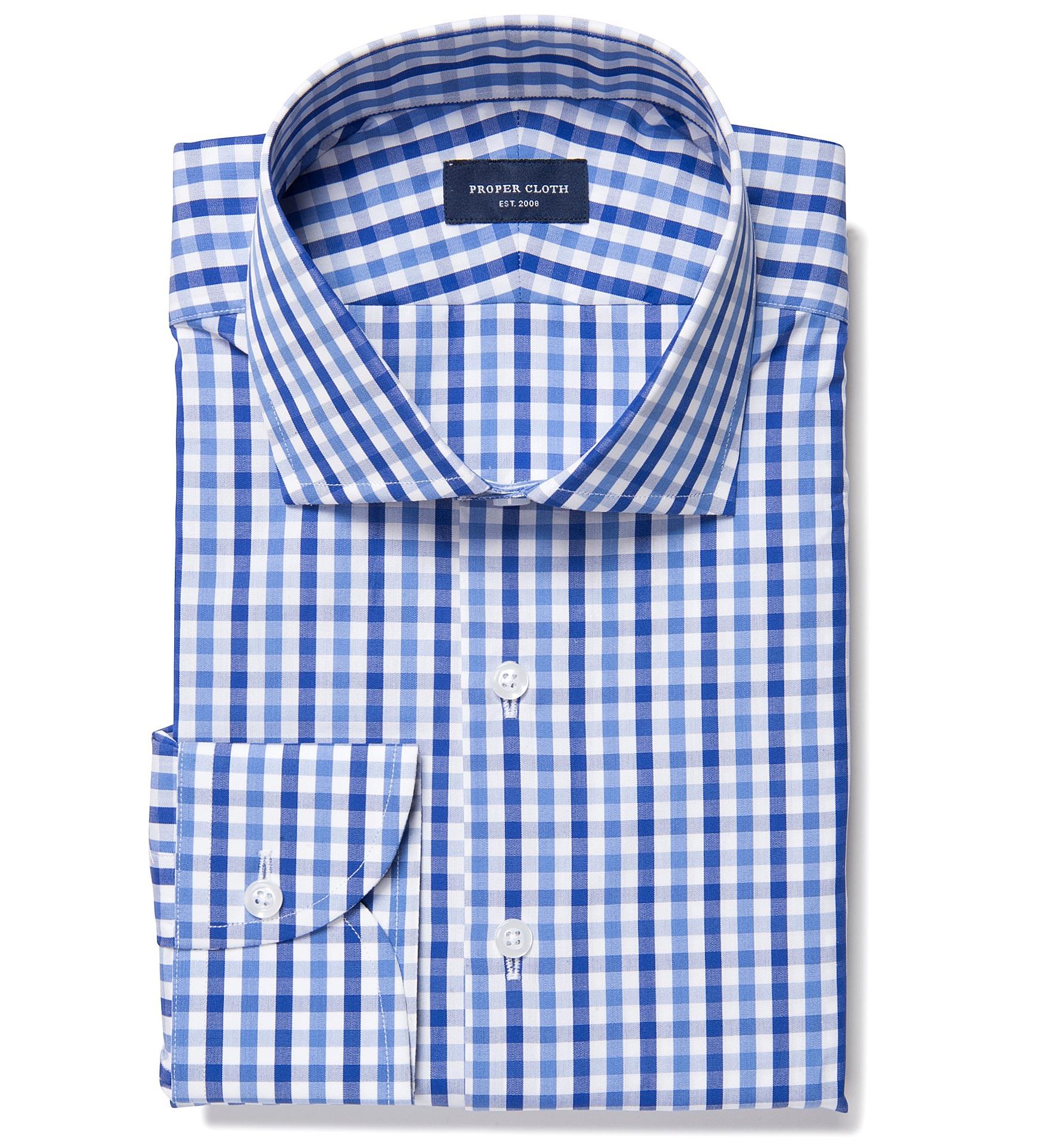 Thomas mason blue multi gingham custom dress shirt by for Thomas mason dress shirts