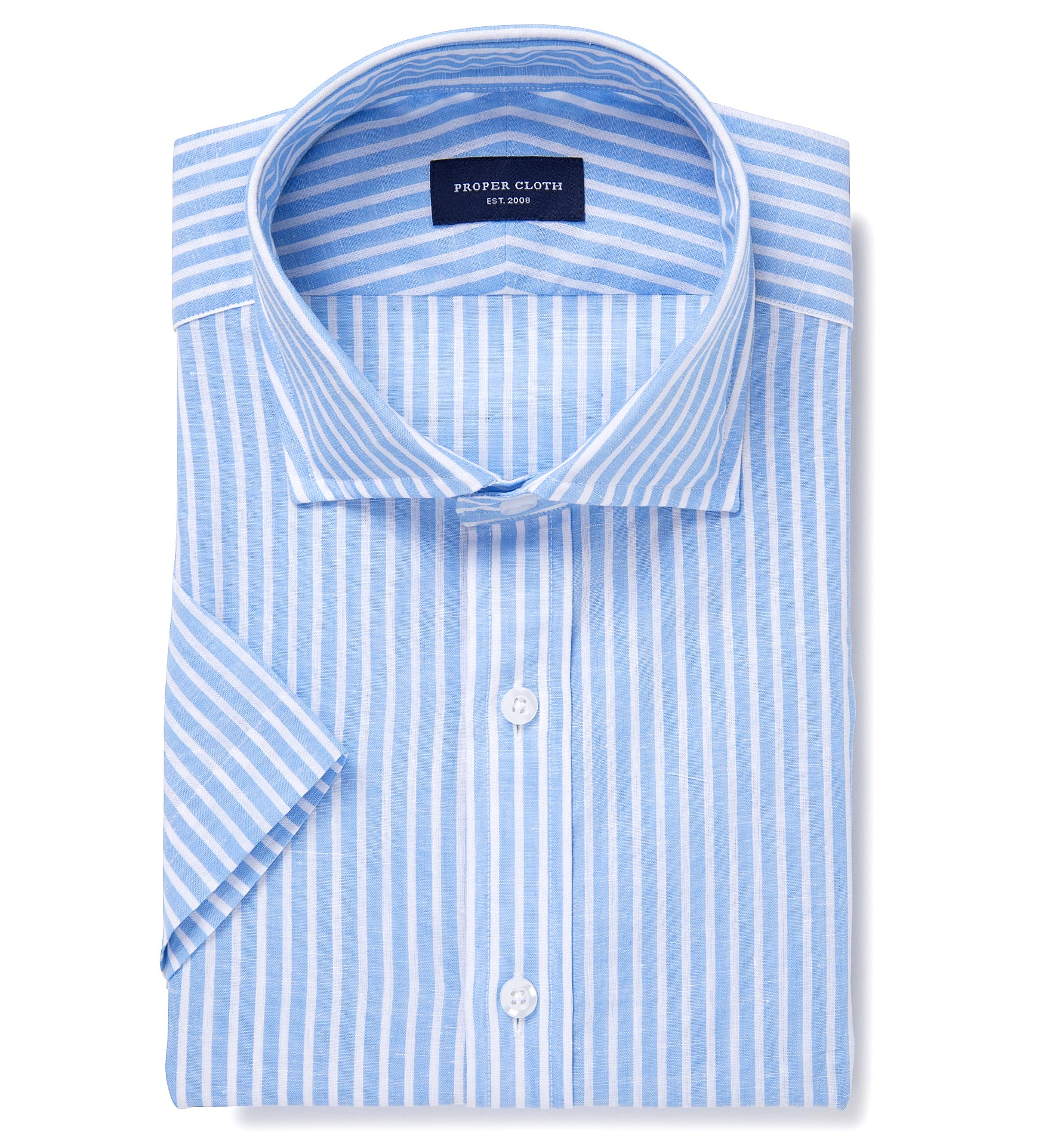 Light blue cotton linen stripe custom dress shirt by for Proper cloth custom shirt price