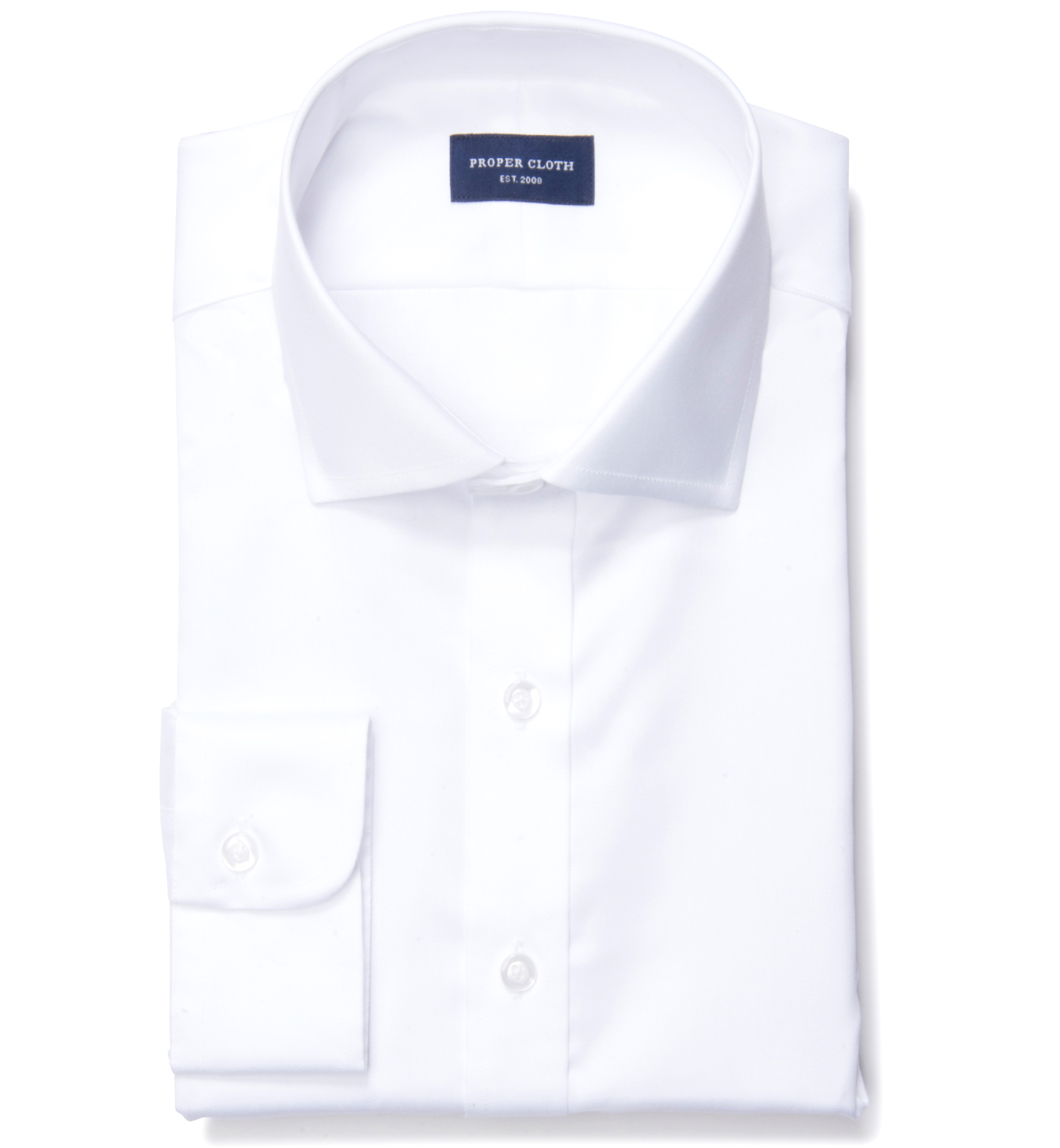 White extra wrinkle resistant 80s twill custom dress shirt for Proper cloth custom shirt price