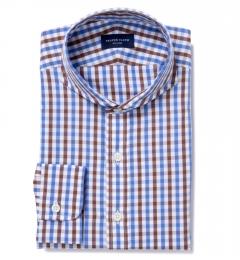 Thomas Mason Brown Multi Gingham Custom Dress Shirt