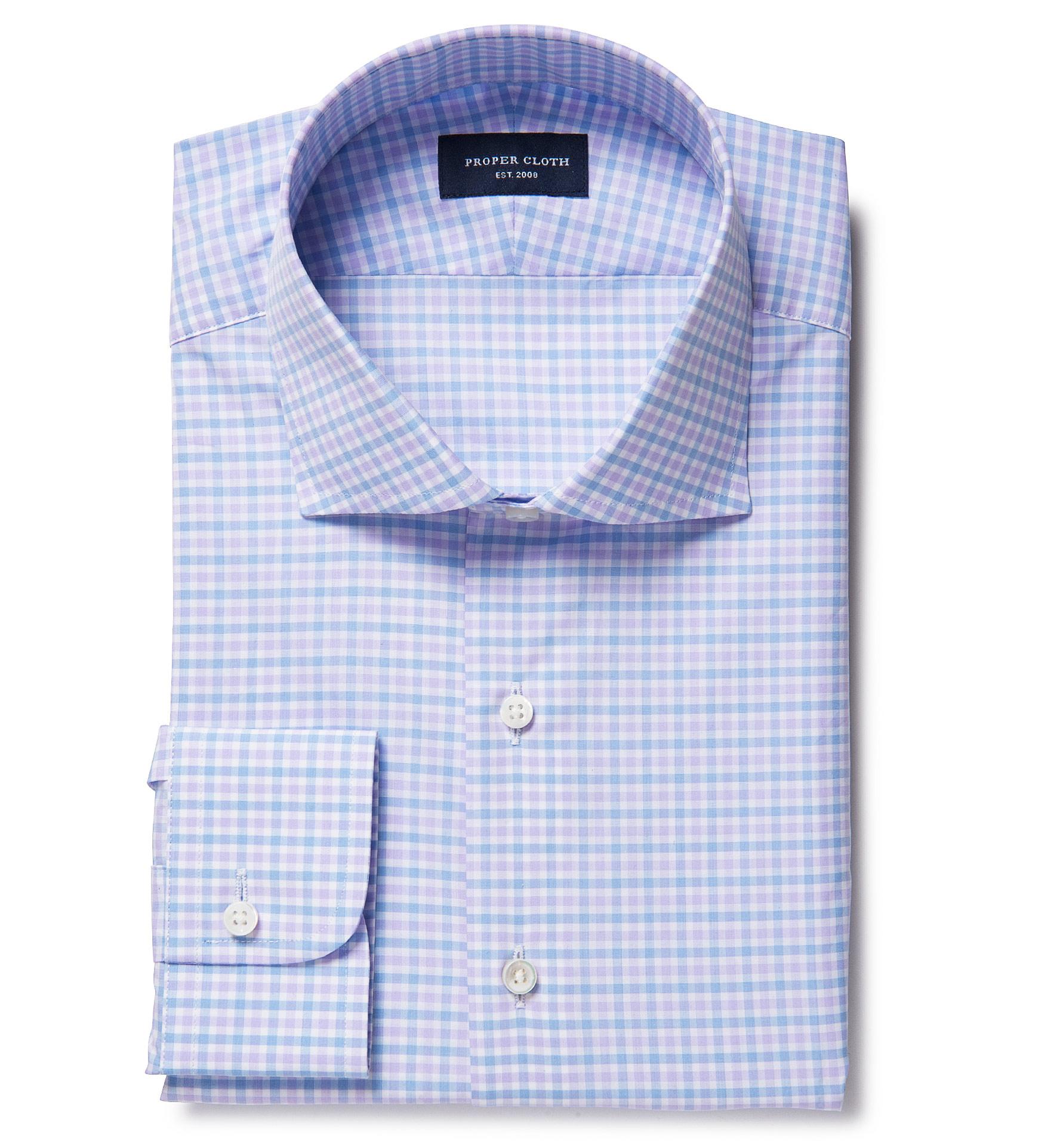 Thomas Mason Goldline Lavender Multi Check Fitted Shirt By