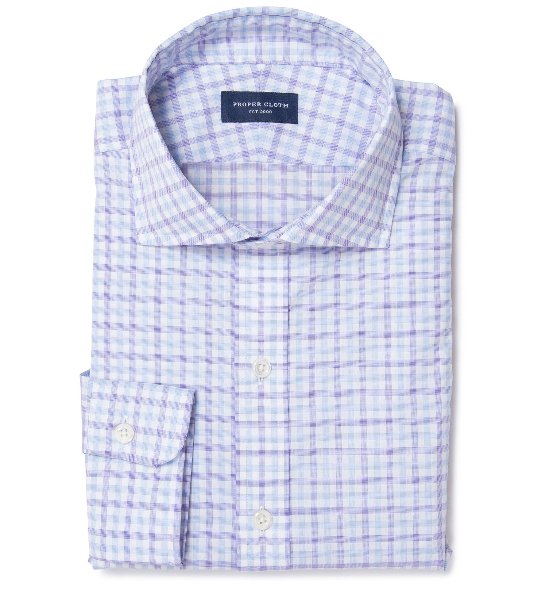 Thomas Mason Lavender End On End Check Fitted Shirt By