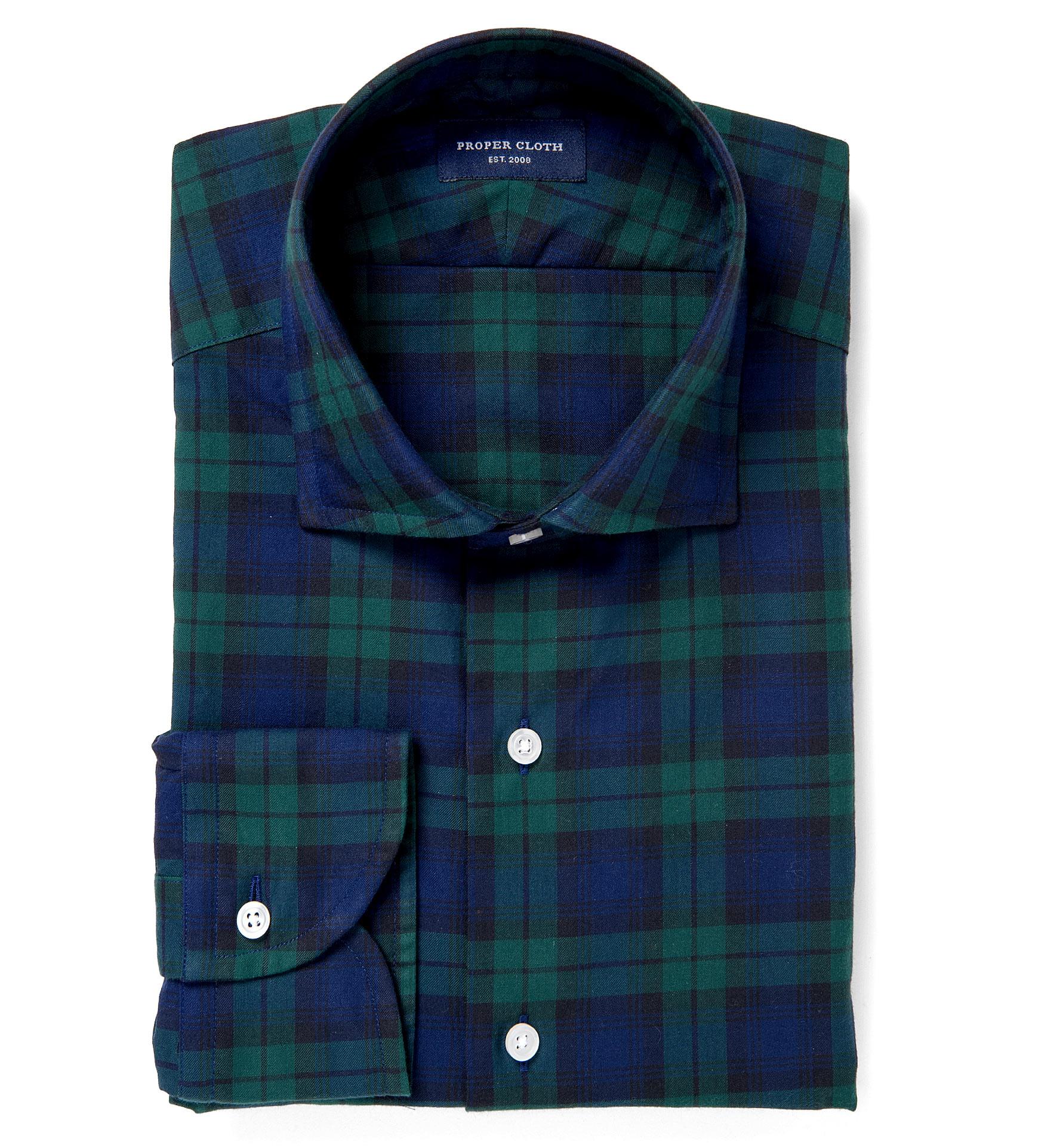 Moritz lightweight blackwatch plaid flannel fitted shirt for Black watch plaid flannel shirt