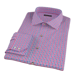 Red and Blue Gingham Fitted Dress Shirt