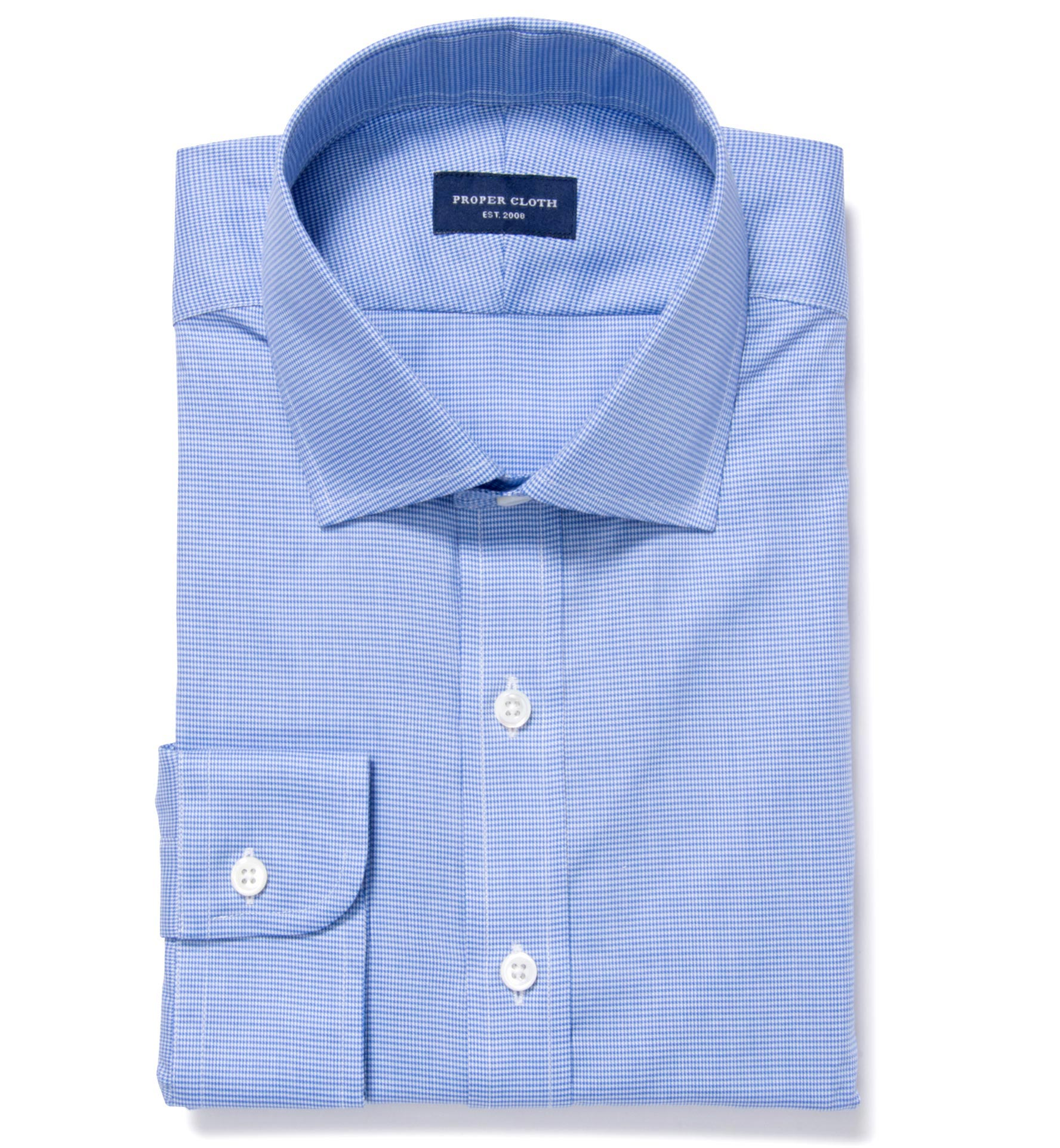 Thomas Mason Blue Wr Houndstooth Tailor Made Shirt By