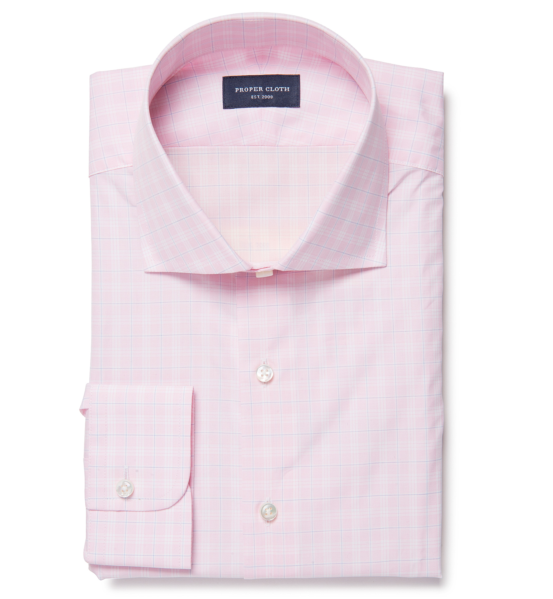 Thomas mason goldline pink prince of wales custom made for Proper cloth custom shirt price