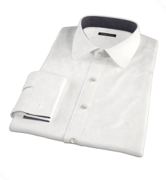 White Wrinkle-Resistant Rich Herringbone Men's Dress Shirt