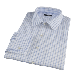 Thomas Mason Dark Blue Grid Fitted Dress Shirt
