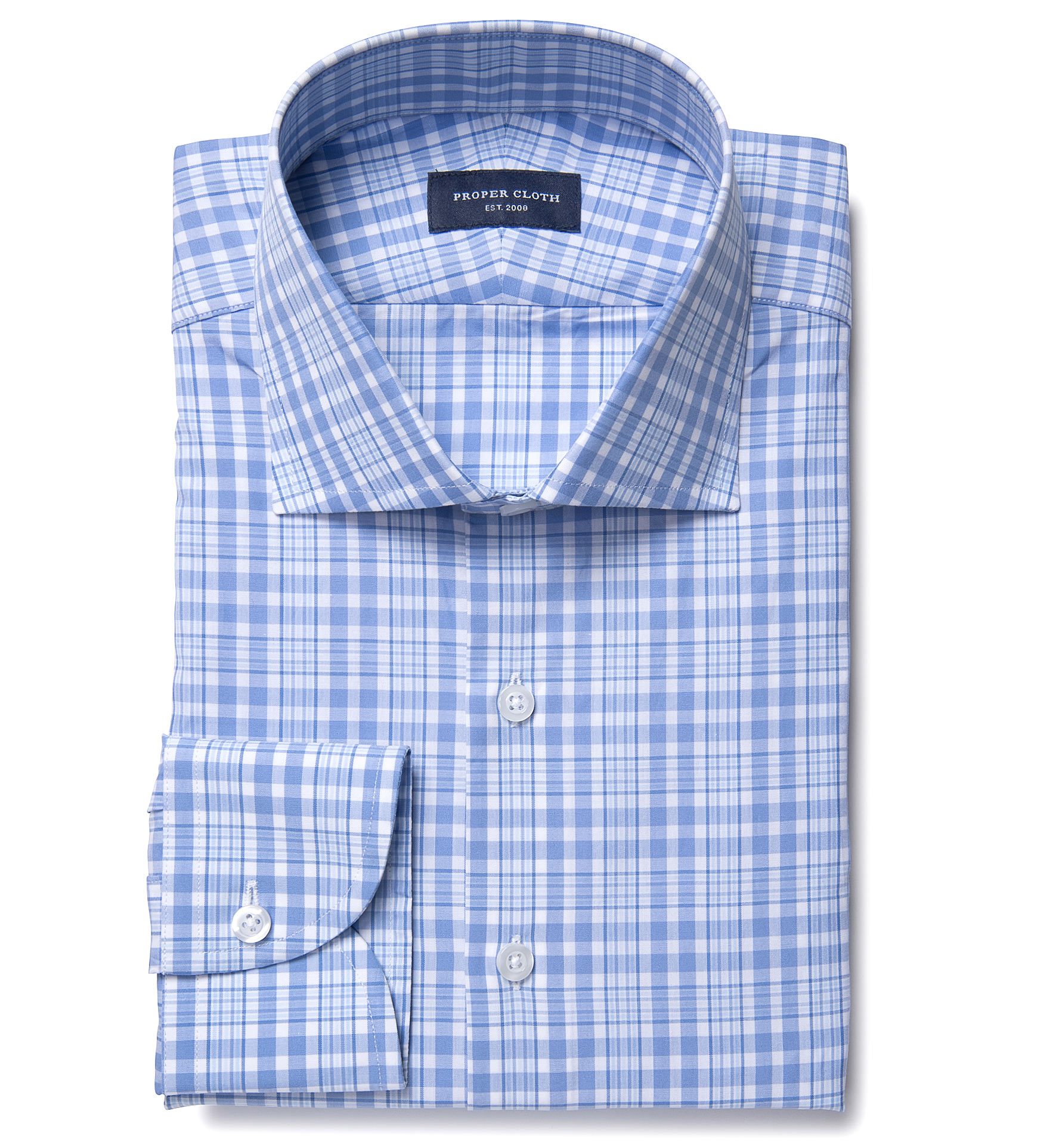 Amalfi ocean blue multi check custom dress shirt by proper for Proper cloth custom shirt price