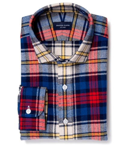 Red And Blue Plaid Country Flannel Fitted Shirt By Proper