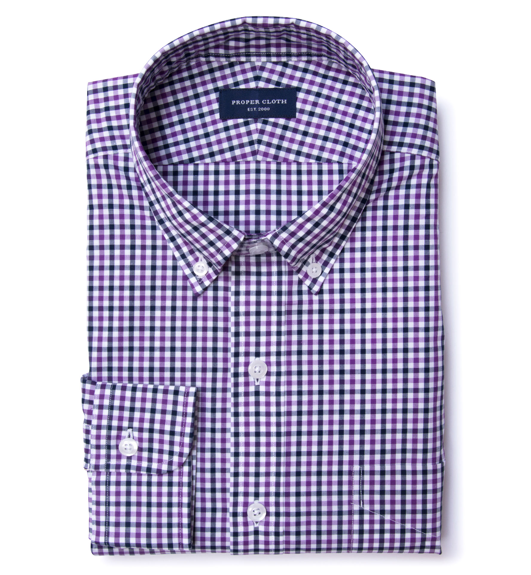 Purple And Navy Gingham Fitted Dress Shirt By Proper Cloth