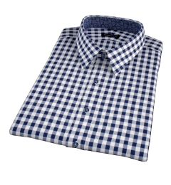 Navy Blue Large Gingham Short Sleeve Shirt