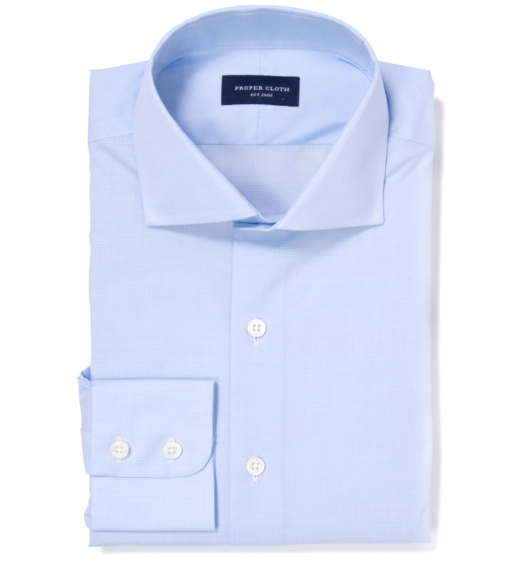Thomas Mason Light Blue Mini Houndstooth Fitted Shirt By