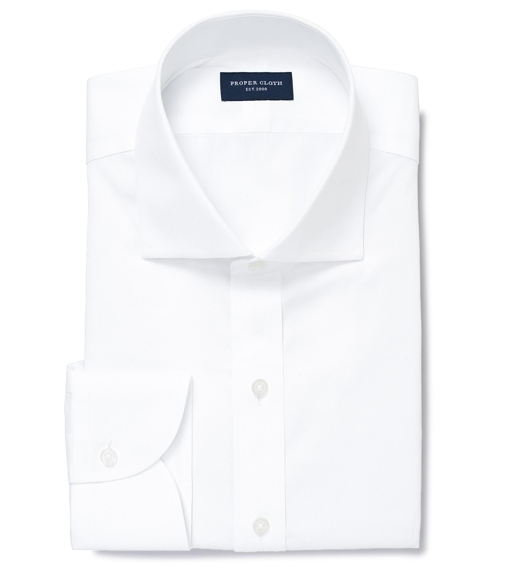 Thomas Mason Non Iron White Pinpoint Fitted Shirt By