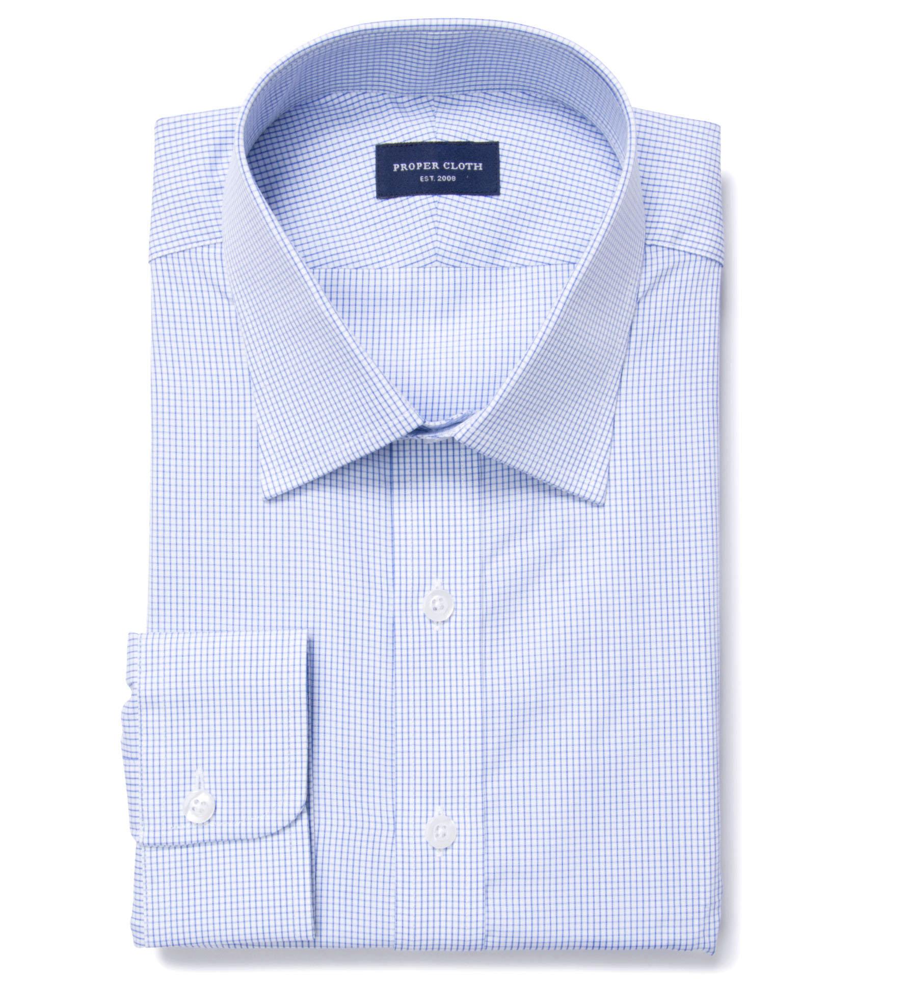 Thomas Mason Blue Small Grid Custom Dress Shirt By Proper