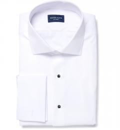 Thomas Mason White Luxury Broadcloth Men's Dress Shirt