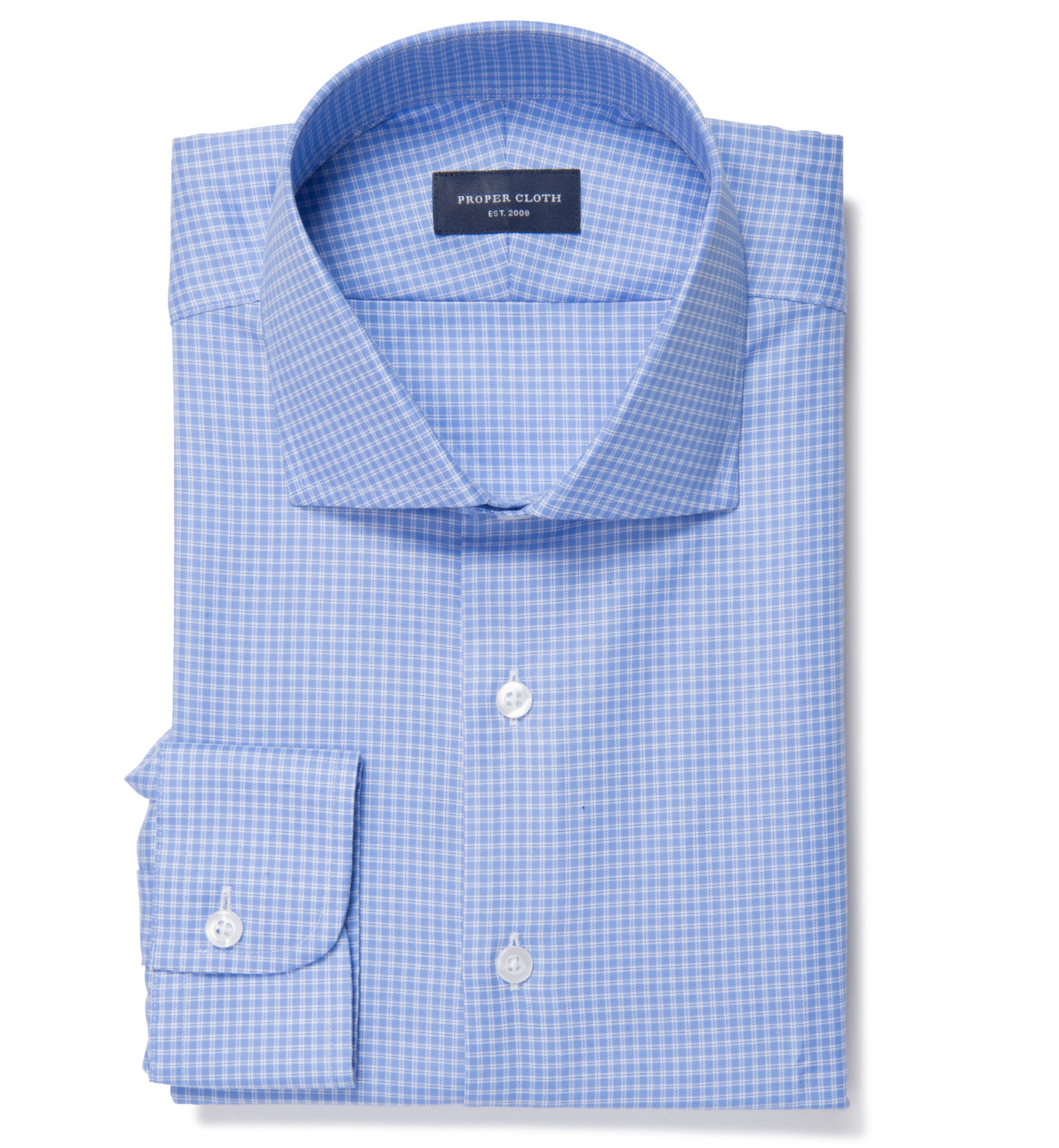 Morris wrinkle resistant blue small check dress shirt by for Blue check dress shirt
