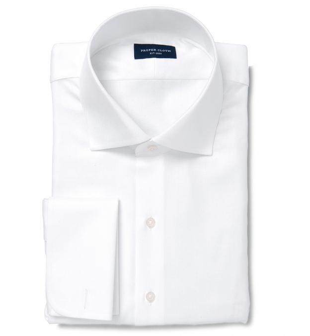 120s white royal herringbone custom dress shirt by proper for White herringbone dress shirt