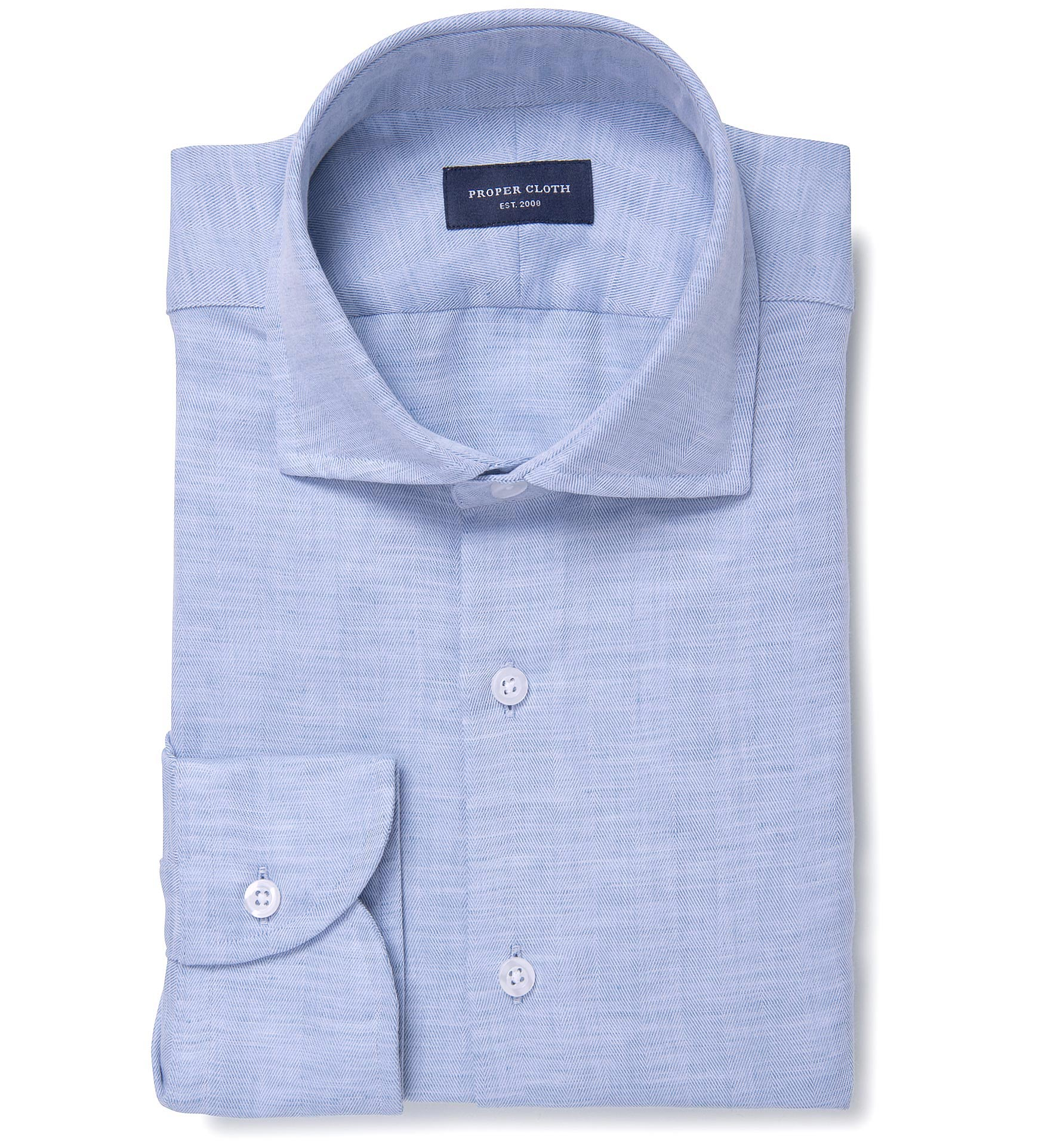 Portuguese blue cotton linen herringbone dress shirt by for Proper cloth custom shirt price